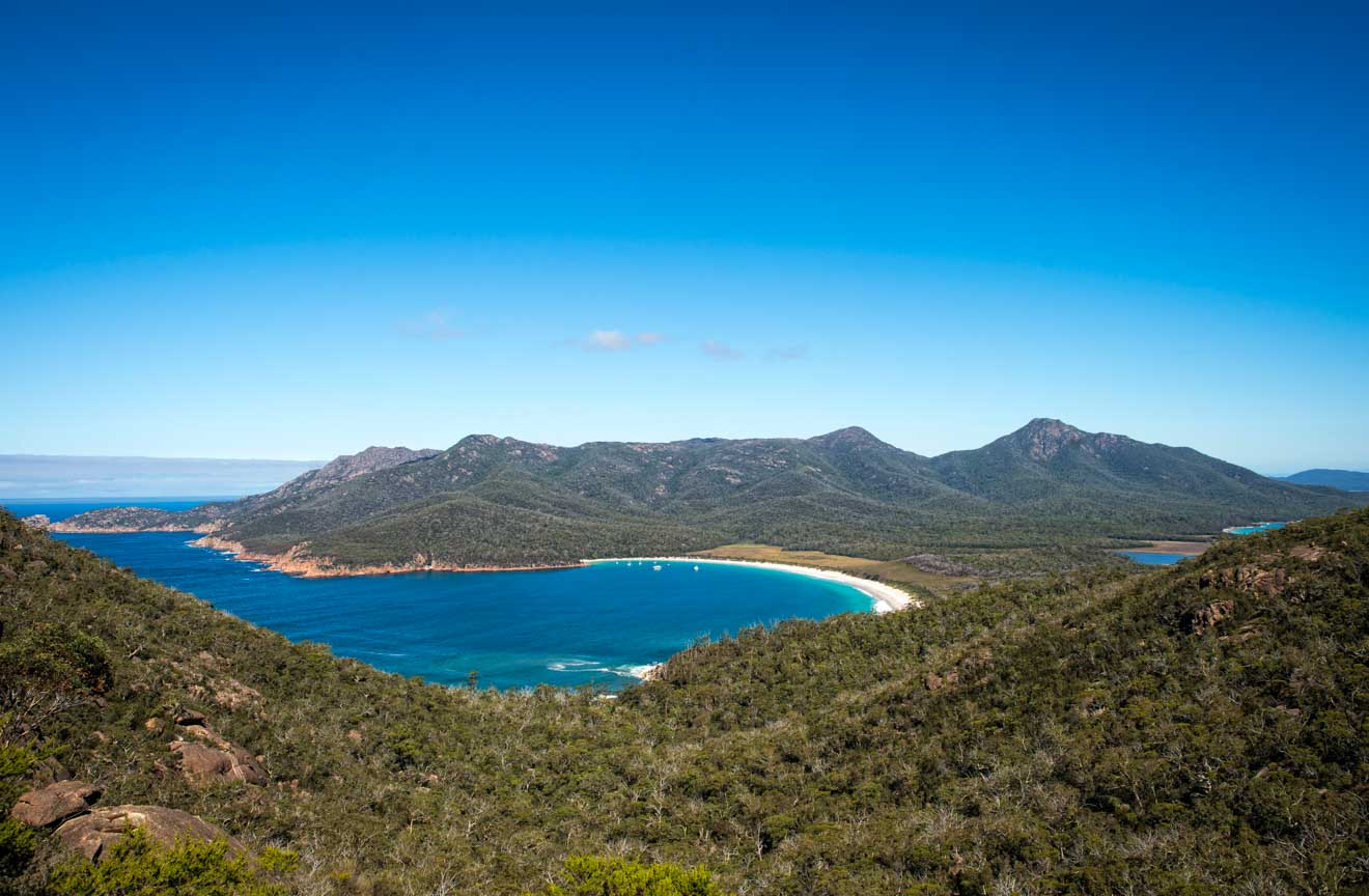 Wineglass Bay from Mt Amos on the Wineglass Bay Track freycinet national park beach