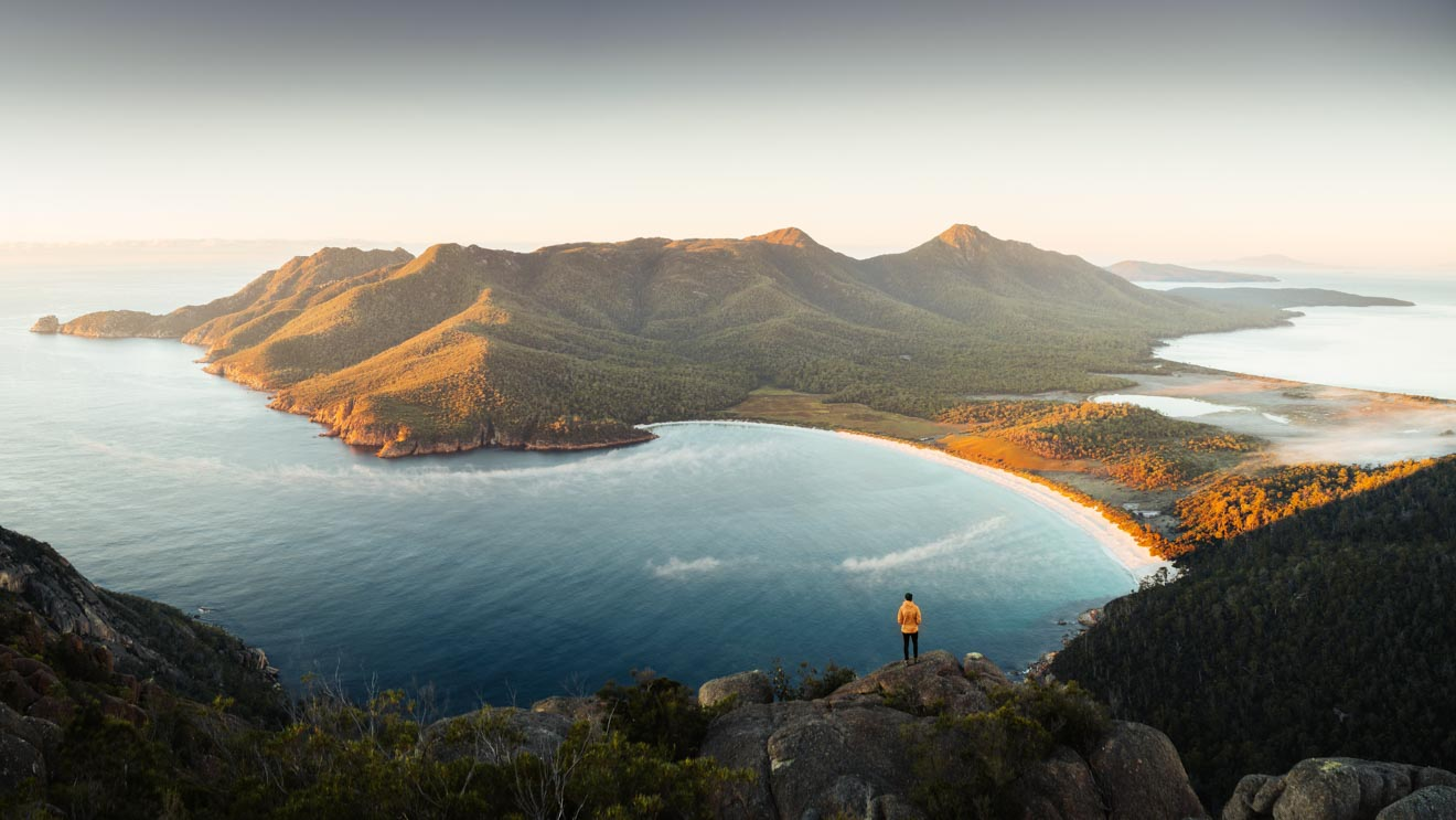 Wineglass Bay tasmania mountain