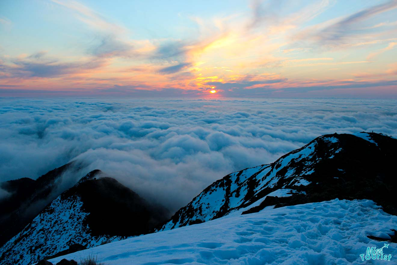 Summit sunset Mt Buller or Mt Hotham falls creek