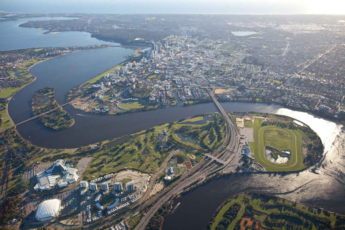 Best free things to do in and around Perth - Perth aerial shot