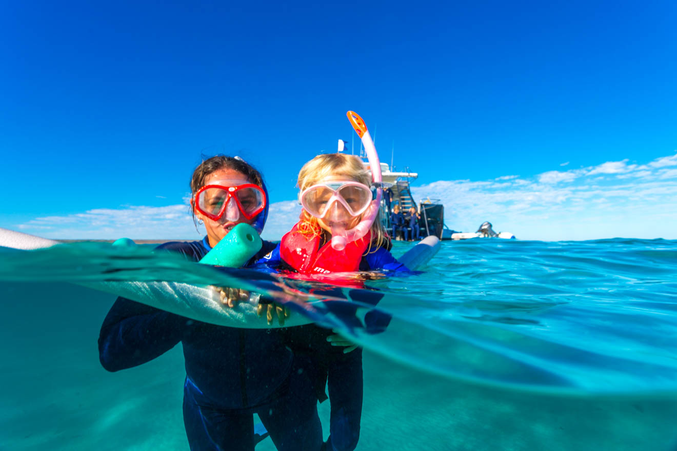 fun things to do with kids diving Whale sharks Ningaloo