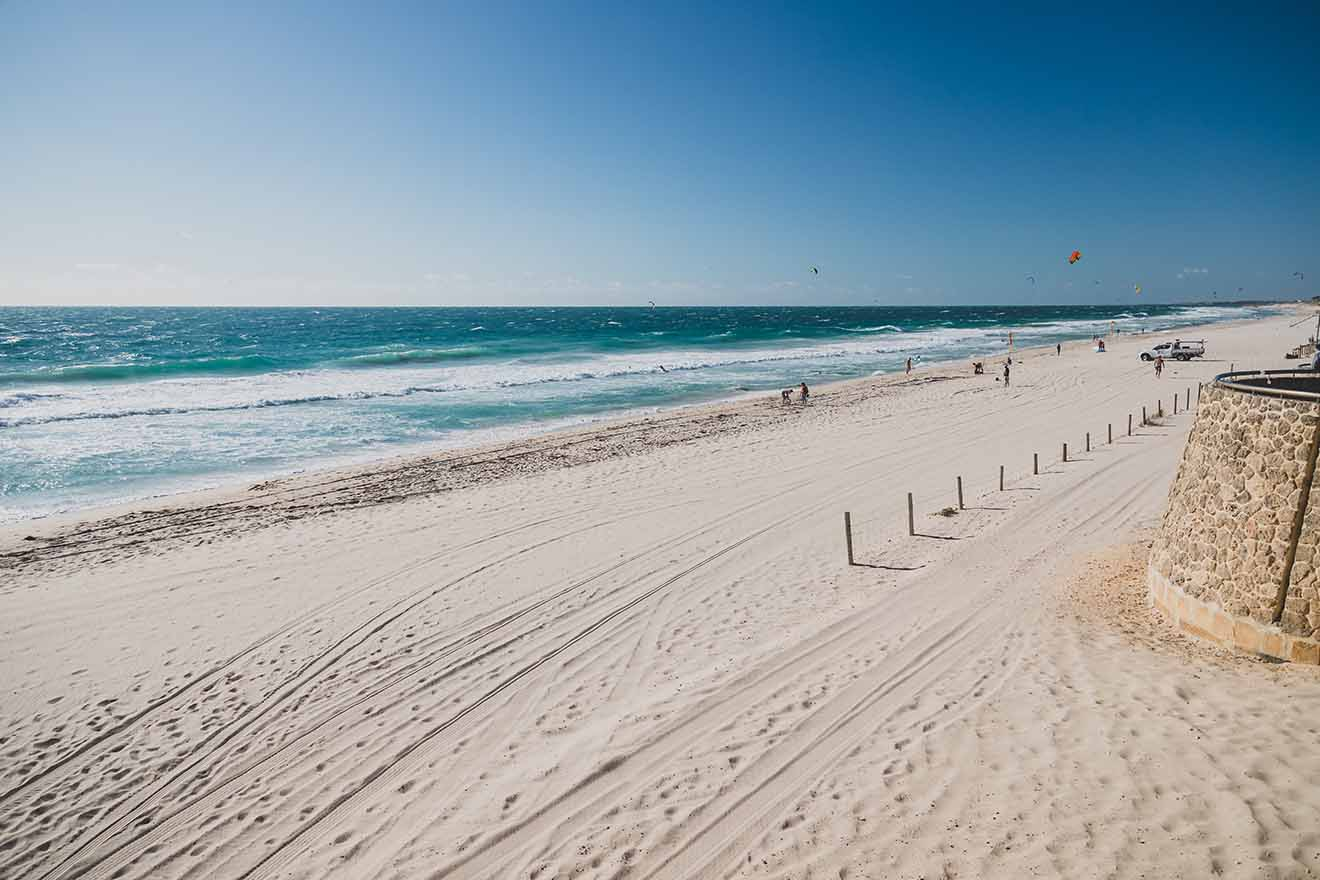 view of Scarborough beach near Perth on a sunny and warm summer